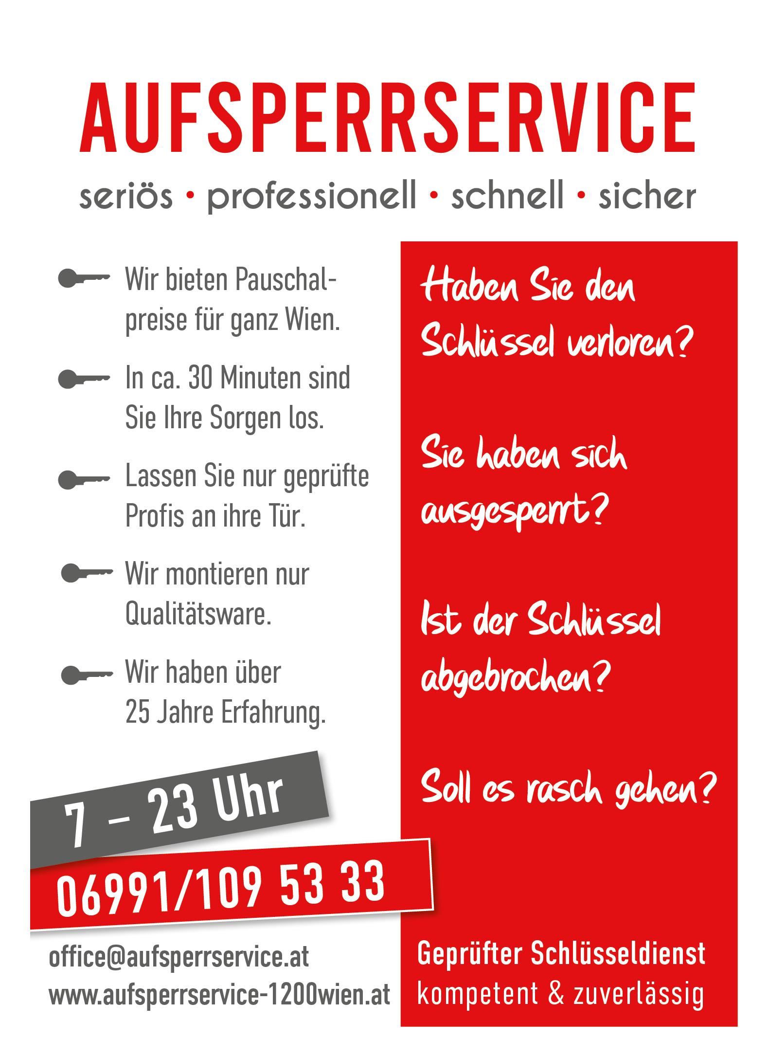 Aufsperrdienst 1200 Schlüsseldienst Aufsperrservice Wien